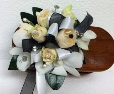 Black and White Jazz wrist corsage - medium size