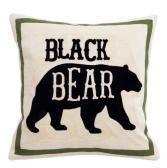 Black Bear Chain Stitch Pillow