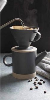 Black Ceramic Pour Over Coffee Set 20 oz.