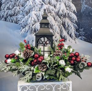 Black Holiday Lantern Centerpiece  in Douglasville, GA | The Flower Cottage & Gifts, LLC