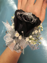 Black Rose with Silver glitter tip Wristlet