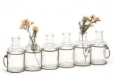 Black Wire with 6 Glass Jars (flowers NOT included