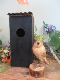 Black Wooden Bird House