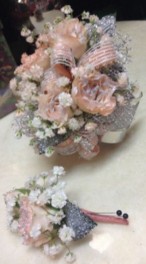 Baby Pink and Silver Corsage with Bout