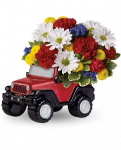 Exclusively at Flowers Today Blazing Trails Jeep Ceramic Keepsake
