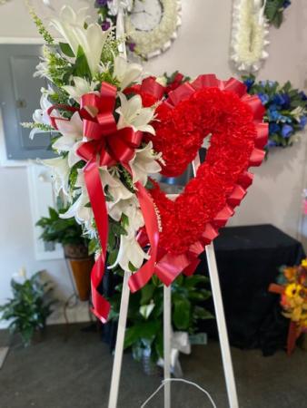 Open Heart Bleeding Heart Silk Funeral Arrangement