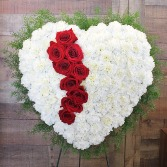 Bleeding Heart with Red Roses and White Carnations