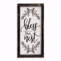 Bless This Nest Linen Sign