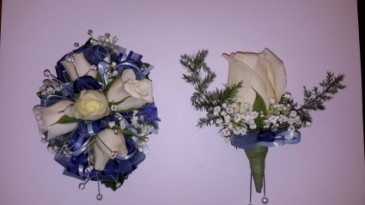 Bling Blue Roses Wrist Corsage