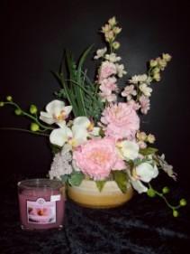 Blissful in Pink Silk Flower Arrangement