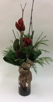 Blooming Amaryllis  Vase Arrangement