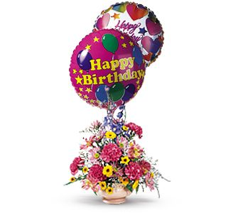 Festive Blooming Balloons OT43 3 Fresh Floral Arrangement