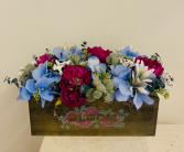 (SILK) Box with Blue Hydrangeas and Pink Peonies Silk Arrangement