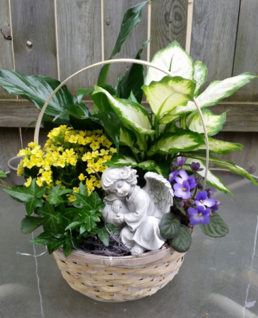 Blooming & green plants & angel in basket