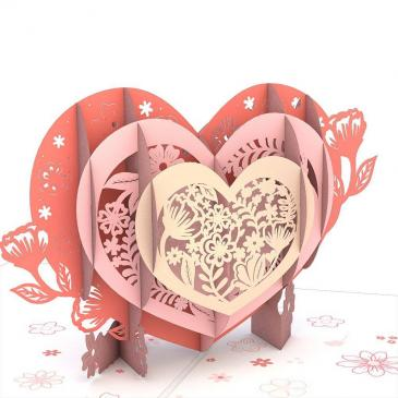 Anniversary Blooming Heart 3D card