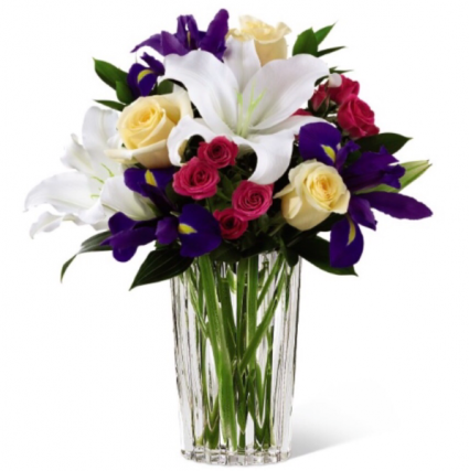Blooming Iris & Lily Bouquet Vase