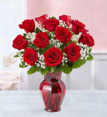 Blooming Love 12 Red Roses  Red Rose Arrangement