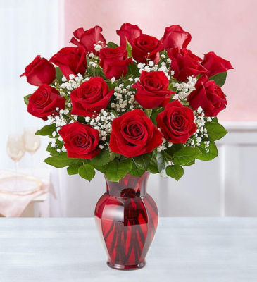 Blooming Love 18 Red Roses Red Rose Arrangement