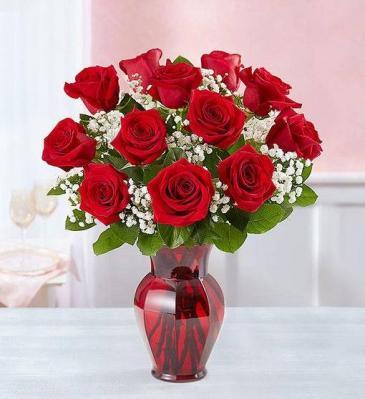 Blooming Love 12 red rose, red vase Vase Arrangement