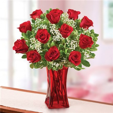 Blooming Love™ in Red Vase Arrangement