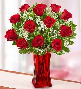 Blooming Love Premium Red Roses in Red Vase Roses