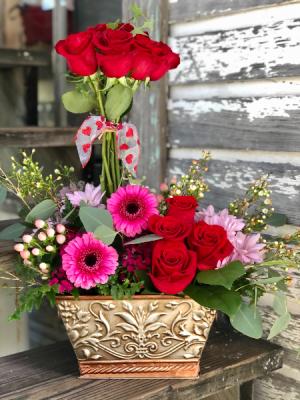 Blooming Love Topiary Arrangement with dozen red roses in Key West, FL | Petals & Vines