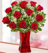 Blooming Love12 Premium Red Roses in Red Vase