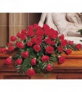 Blooming Red Roses Casket Spray TF209-4