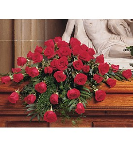 Blooming Red Roses Casket Spray in Allen, TX | RIDGEVIEW FLORIST