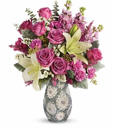 Blooming Spring Embossed, Pearlized Vase