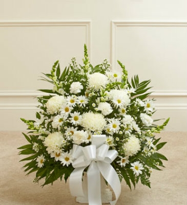 Heartfelt Floor Basket  All White Funeral Basket