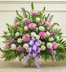 Bloomnet's Pastel Heartfelt Tribute  Floor Basket