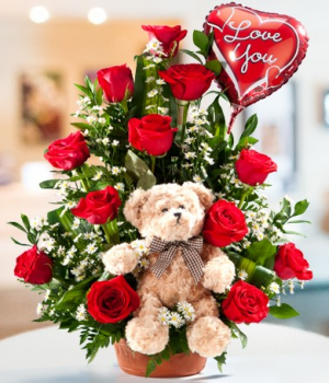 BLOOMS BEAR and BALLOON  in Whittier, CA | Rosemantico Flowers
