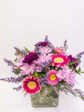 Blooms in pinks & mauve small cube  Vase
