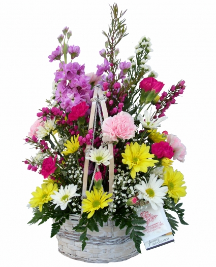 Blooms of Cheer  Basket Arrangement