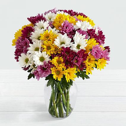 FTD Blooms of Colourful Poms Vased Arrangement