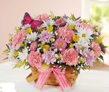 Blossoming Blooms Basket floral arrangement