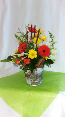 Blossoming Hope Birch Bucket in Norway, ME | Green Gardens Florist & Gift Shop