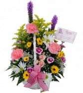 Blossoms of Spring Basket Arrangement