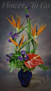 BLU TROPICAL  VASE ARRANGEMENT