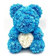 Blue 14inch Rose Bear With Box Blue Rose Bear