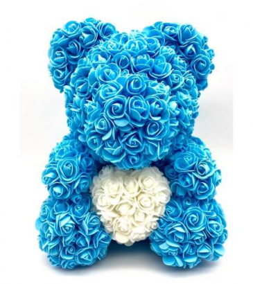 Blue 14inch Rose Bear With Box Blue Rose Bear
