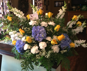blue and gold hydrangea and rose sympathy arrangem arrangement in Wilkes Barre, PA | Kelly Ann's Floral