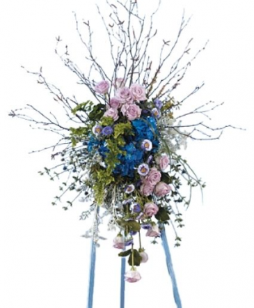 Blue and Lavender Standing Spray Funeral