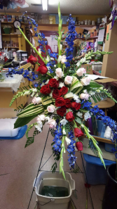 Blue and Red Standing Easle Memorial Piece