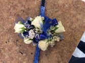 Blue and silver Corsage