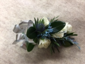 Blue and Silver Wrist Corsage
