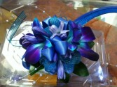 Blue and Teal mix wrist corsage