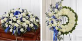 BLUE AND WHITE 2-PC. PACKAGE CASKET SPRAY AND WREATH, WAS $499/NOW $400