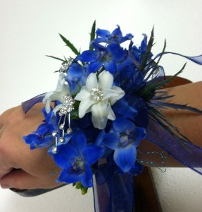 Blue and White Angel wrist corsage